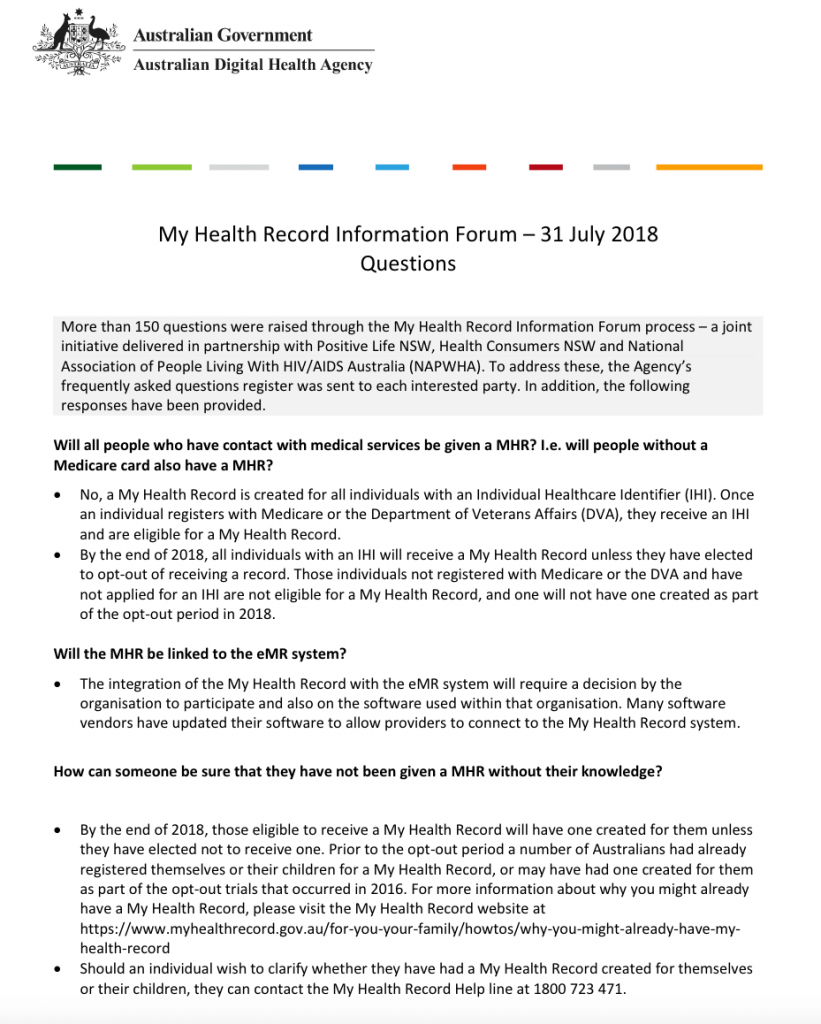MY HEALTH RECORD Community Forum (31 July 2018) - Response to Questions