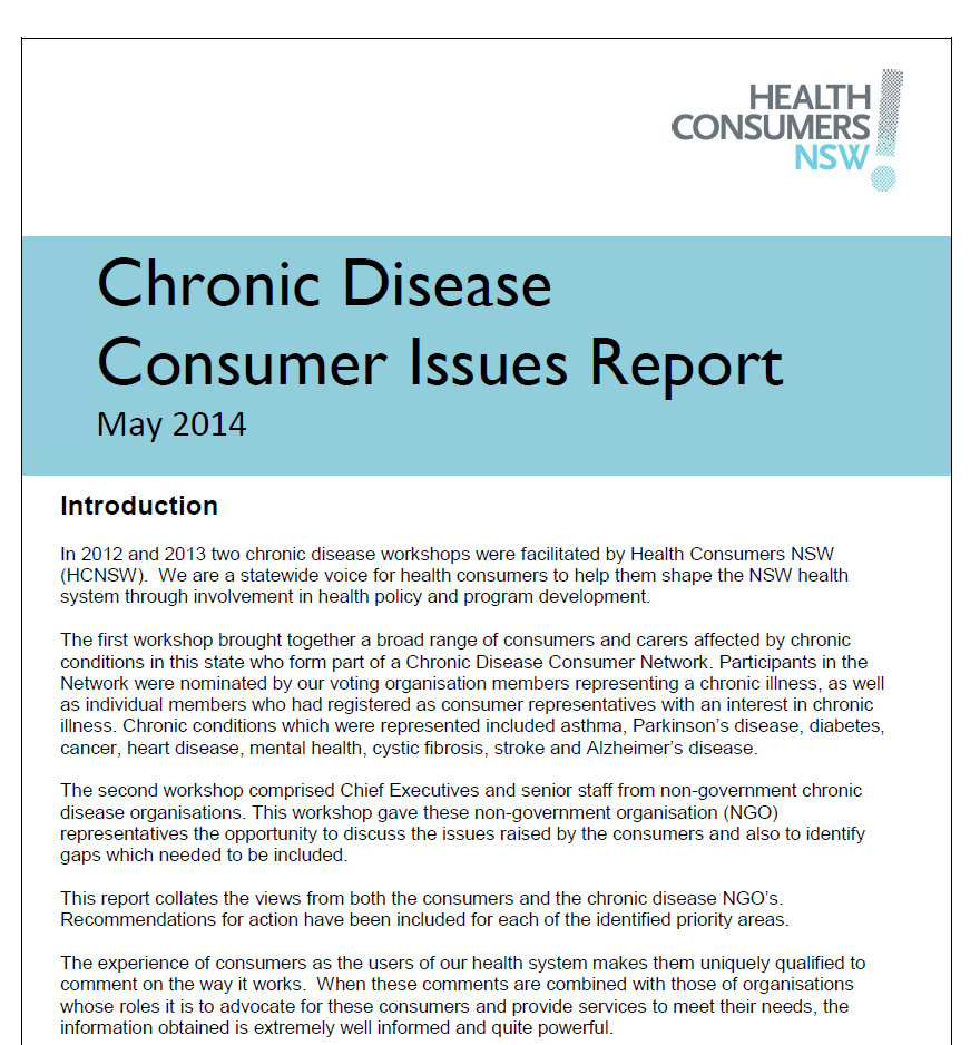 Chronic Disease Issues Paper